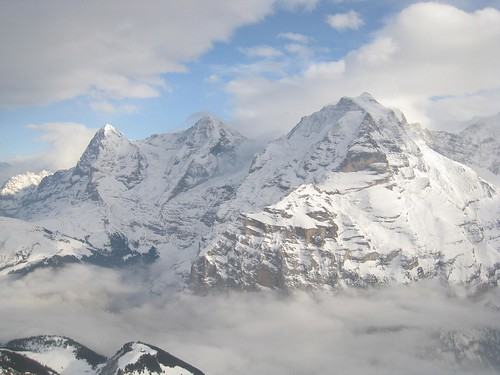 The Swiss Alps (from left): Eiger, Monch, and Jungfrau