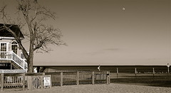 Moonrise At Four O'Clock (Baab1) Tags: trees blackandwhite sepia landscapes sand steps fences monotone goldenhour chesapeakebay boardwalks moonshots moolight northbeachmaryland chesapeakebeachmaryland marylandlandscapes
