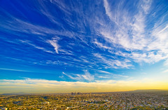 Los Angeles, California (GioPhotos) Tags: california city blue sunset weather la losangeles downtown cityscape bluesky observatory 5d griffith citylandscape canondslr hmb lightroom whiteclouds losangelesca goodweather canoneos5d supershot mondayblues anawesomeshot mondaymorningblues happymondayblue hdpixel