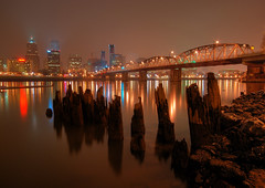 Hawthorne Bridge at Night from the Spot (Gigapic) Tags: bridge rock night oregon portland landscape landscapes you hawthorne 0110 unanimous challengeyouwinner photofaceoffplatinum pfogold pfoisland09 pfoisland13 herowinner ultraherowinner