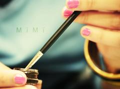 (M  M ) Tags: pink black girl gold hand nail makeup polish brush eyeliner