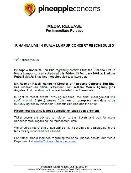 Rihanna Concert Postponed