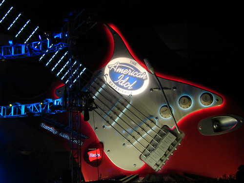 Idol logo on the giant Fender Stratocaster during the after-party. Photo by Mark Goldhaber.