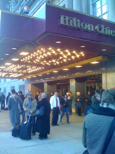 Writers outside the Hilton