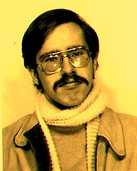 Man with Long Scarf (The Big Jiggety) Tags: face scarf glasses michael kent gesicht cara selfportraits bigotes moustache gafas brille 1970s passport lunettes visage