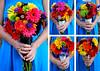 blue flowers black bouquet blue detail black detail wedding photo
