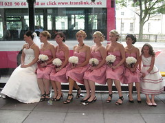 waiting for the bus? 2 (jackeeadio) Tags: ireland wedding bride candid belfast busstop bridesmaids northernireland flowergirl translink ulster bridalgown weddingbouquets