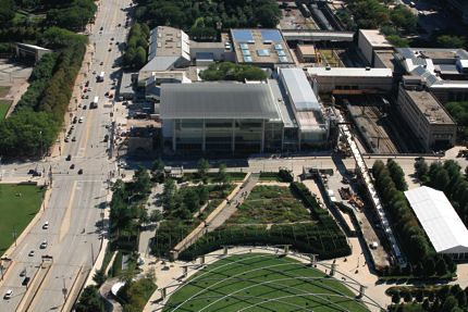 Aerial view of Chicagos Millennium Park (Courtesy The Art Institute of Chicago)