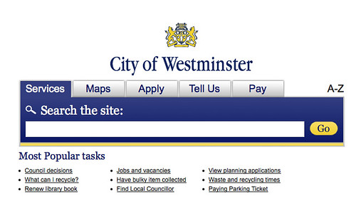 Westminster City Councils bold search box
