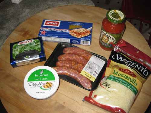 Ingredients for lasagna