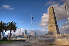 Western Australian War Memorial (Adon Buckley) Tags: park city blue sunset sky monument skyline memorial war flag australian kings perth western kingspark hdr buckley lestweforget adon westernaustralianwarmemorial australiansuburb