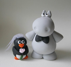 Hippo/Penguin Wedding Cake Topper (fliepsiebieps1) Tags: wedding penguin polymerclay hippo caketopper custom