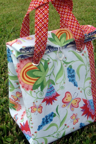 backside of bird lunch bag, with top folded