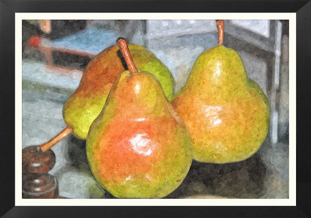 3 Pears - Framed Watercolor