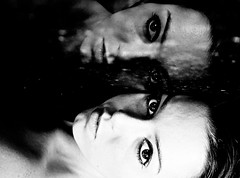 I am distorted. (Elena Bertolo) Tags: bw selfportrait reflection me face contrast self eyes distorted