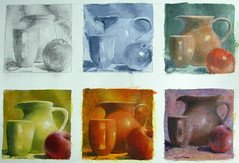 6 little acrylic still life paintings - variations of same reference (Elizabethc) Tags: red stilllife art apple cup kitchen fruit painting ceramic artwork artist acrylic shadows michigan highlights mug pitcher battlecreek elizabethcrabtree crabtreeoriginals