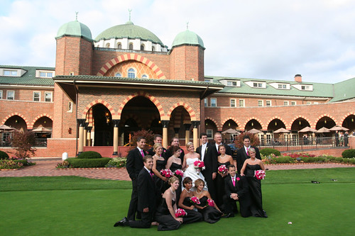 posing in from of the Medinah CC clubhouse