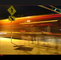 Motion - Explore (Louie, Lou) Tags: street longexposure people motion bus beach sign walking lights trafficlight shadows nightshot florida sidewalk vehicles fortlauderdale neonlights greenlight ghosts lighttrails crosswalk rac a1a theamericansouth sebastianst readyaimclick