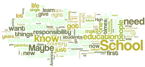 word cloud: Obama talks to kids