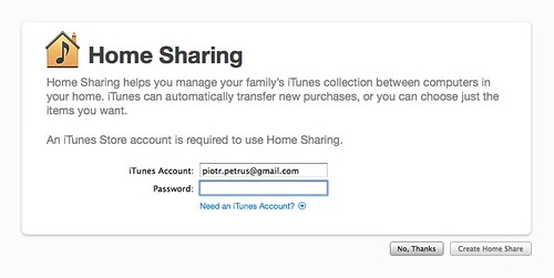 iTunes 9 Home Sharing
