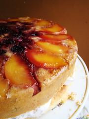 Upside Down Blackberry Peach Pecan Cake with Pecan Kreme