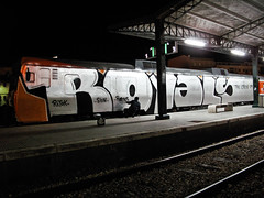 Just Finishing (subliner) Tags: espaa orange black valencia night yard train silver real graffiti spain action crew vandal plata rails writer royals escritor robyns accion anden vias royales wholecar cochera