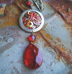 Scarlet Prism Steampunk Necklace (MadArtjewelry) Tags: red prism foundobjects resin etsy necklaces steampunk watchparts clockparts madartjewelry