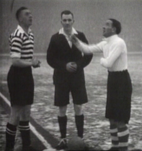 Arsenal (in white) Vs Manchester United (in hoops) at Highbury, January 1937