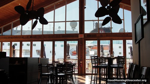 View Of The Towering MS Fram From Inside The Seaport Grill