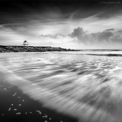 Rhych Point (Gary Newman) Tags: uk sea bw seascape tower beach wales clouds square waves porthcawl d700 rhychpoint