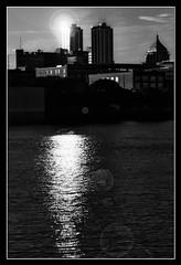 Peoria Sunset (eScapes Photo) Tags: sunset skyline illinois lensflare flare peoria illinoisriver