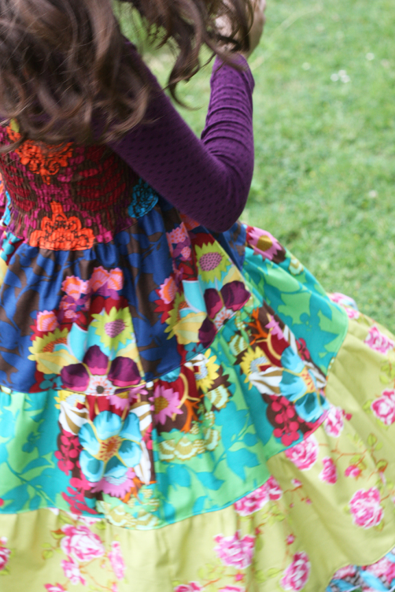 Garden party shirred twirl dress