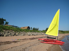 Trimaran at Upalong Beach (JamieK2007) Tags: beach sailboat novascotia northumberland sail windrider trimaran toneyriver