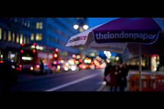 The London Paper (pic fix) Tags: street city london night canon 50mm lights bokeh f14 canon5d umberella hbw bokehwhores
