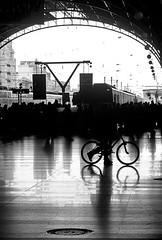 Rispettiamo l'ambiente... (Topyti) Tags: street bw espaa valencia station bike train geotagged gente olympus estacion bici stazione treno spagna bicicletta pedalare geo:lat=3946692 geo:lon=0377355 estacinvalencianord
