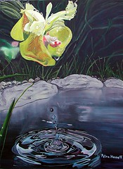 Trpfchen fr Trpfchen (drop for drop) (Fotoelfe) Tags: flower art water wasser kunst drop canvas blte oilpainting tropfen leinwand lmalerei