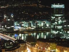 Frankfurt/Main by Night - Westhafen/Theodor-Stern-Kai (domlen) Tags: night river main westhafen frankfurtmain friedensbrcke theodorsternkai domlen