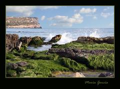 Por la marea (Mara Garca) Tags: musgo verde azul mar playa arena roca menorca ola sonbou