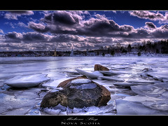 Mahone Bay (Dave the Haligonian) Tags: ocean sea snow canada ice church water clouds evening frozen nikon novascotia maritime hdr mahonebay d90 dsc644234psd