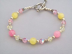 Summer Lemonaid Bracelet (sweetanniesjewelry) Tags: beads jewelry jade bracelet beaded swarovskicrystal sterlingsilver