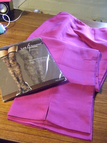 Lace tights, Leg Avenue; Fucshia cropped pants, Ann Taylor