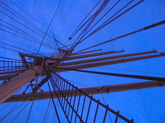 Climb to the Twilight Heights (TomBrooklyn) Tags: nyc newyorkcity blue wild sky brown ny newyork lines sailboat wow boat dusk manhattan guesswherenyc awesome ladder mast tallship sick rigging peking goldenhour sampunknycguessed tombrooklyn