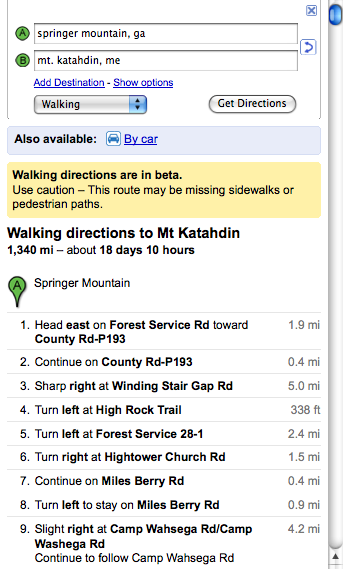 Walking directions to Mt Katahdin