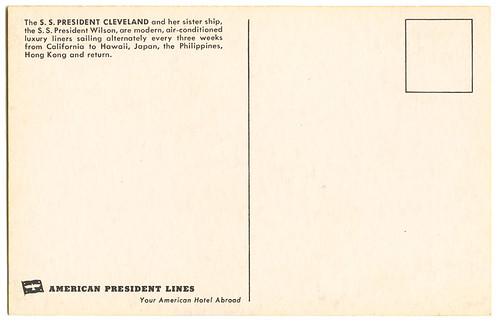 S.S. President Cleveland_back_postcard_tatteredandlost