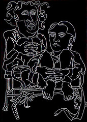 Divorce Was Imminent (Julia L. Kay) Tags: party portrait blackandwhite bw white david black art pencil sketch artist julia drawing kay line kays contour contourline juliakay jkpp julialkay julialynnkay friedheim davidfriedheim juliakaysportraitparty davidaaronfriedheim