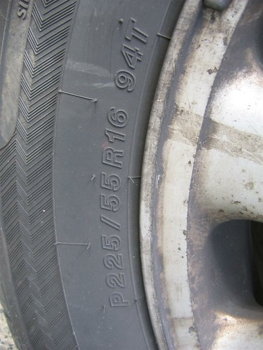 """This is a close up photo of the wall of a tire where you can find the tire and wheel size. The size of this wheel is 16"""" (The number after the R - in this case R16)"""