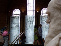 Darwin reflecting on mans ancestry, Natural History Museum, London