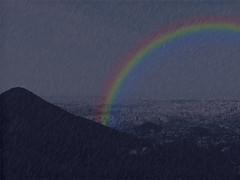 Rainbow over Sapporo (nipponbasse83) Tags: mountain rain weather night sapporo rainbow effect hardrain