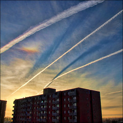 ~ Sunrise Raceway ~ (ViaMoi) Tags: sky canada clouds rainbow contrail shadows ottawa refraction chemtrails digitalcameraclub justclouds aplusphoto viamoi 100commentgroup 劃過天際的絲路