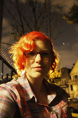 Zaz365-Day68-2009july17 (OK+) Tags: houses tree smile leaves night clouds star nightscene railing redhair plaidshirt redglasses